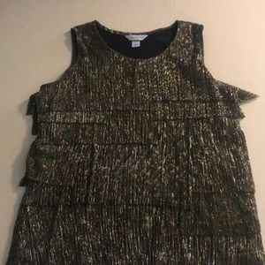 Christopher& Banks gold and black dressy tank top